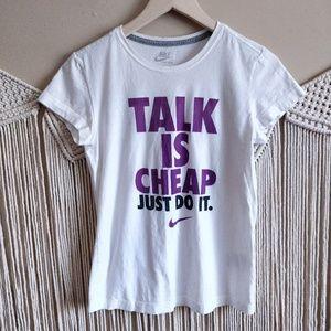 NIKE Talk Is Cheap White Purple Graphic T-Shirt S